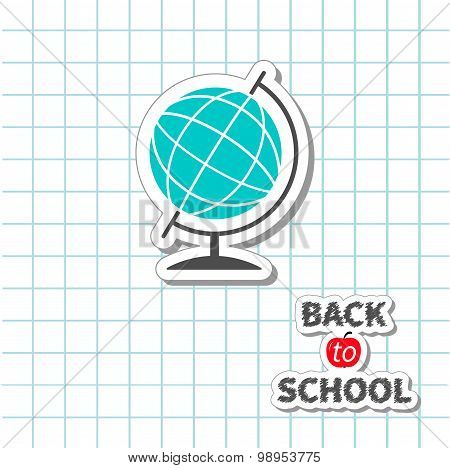Back To School World Globeon Paper Sheet Background Exercise Book. Flat Design