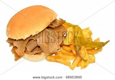 Doner Kebab Meat Sandwich And Chips