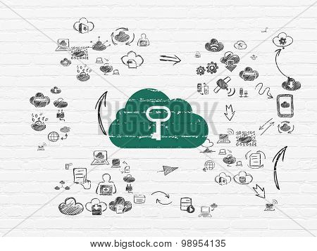 Cloud networking concept: Cloud With Key on wall background