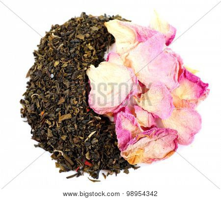 Various kinds of herbal tea and herbs spices isolated on white