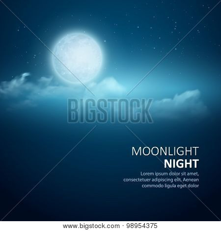Night vector background, Moon, Clouds and shining Stars on dark blue sky