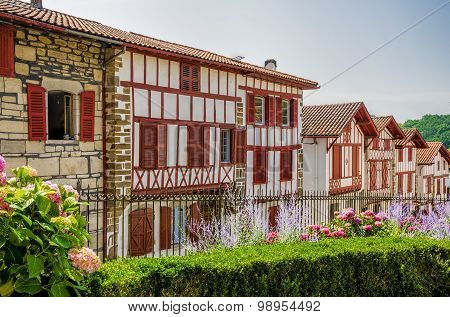 Row of typical Basque cottages in La Bastide-Clairence