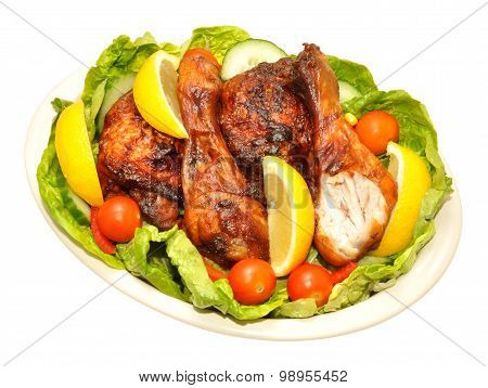 Cooked Chicken Portions And Salad