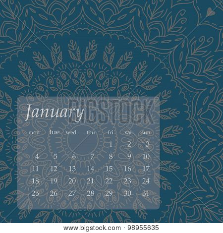Mandala Calendar January 2016. Vintage decorative elements. Oriental pattern, vector illustration.