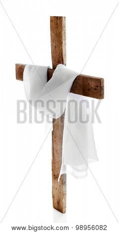 Cross with cloth, isolated on white