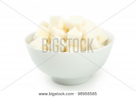 White Sugar In Bowl Isolated On White