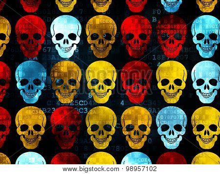 Healthcare concept: Scull icons on Digital background