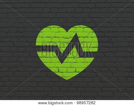 Medicine concept: Heart on wall background