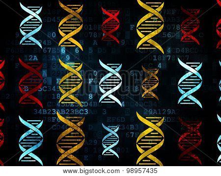 Healthcare concept: DNA icons on Digital background