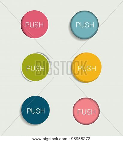 Infographics Flat Design Buttons.