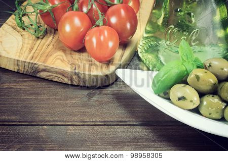 Vintage Photo Of Green Olives And Tomatoes