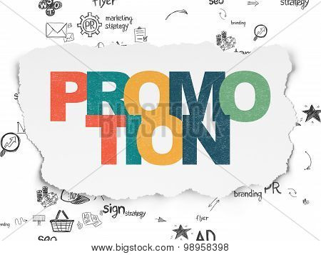 Marketing concept: Promotion on Torn Paper background