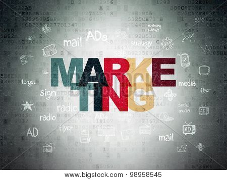 Advertising concept: Marketing on Digital Paper background