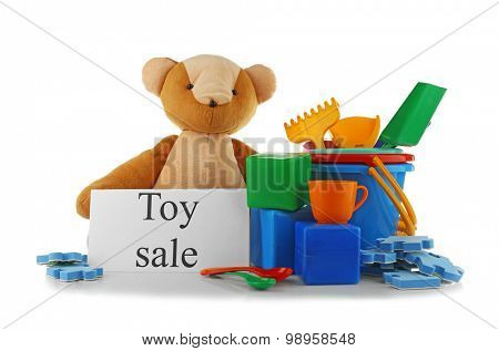 Toys for sale, isolated on white