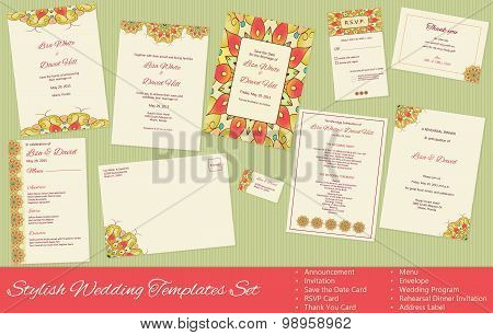 Stylish, Vector Wedding Templates Set