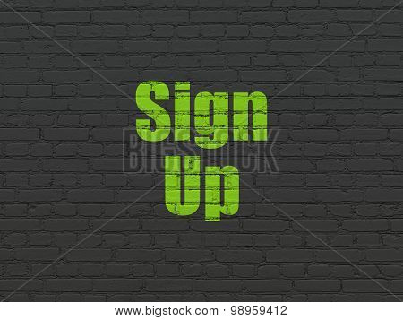 Web development concept: Sign Up on wall background