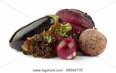 Group Of Purple Vegetables On White