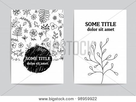 Card or page template. Hand drawn floral design