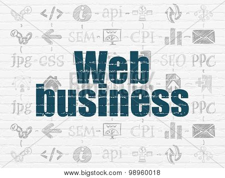 Web development concept: Web Business on wall background