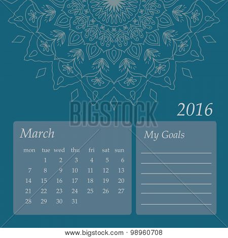 Mandala Calendar March 2016. Vintage decorative elements. Oriental pattern, vector illustration. I
