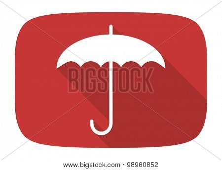 umbrella flat design modern icon with long shadow for web and mobile app