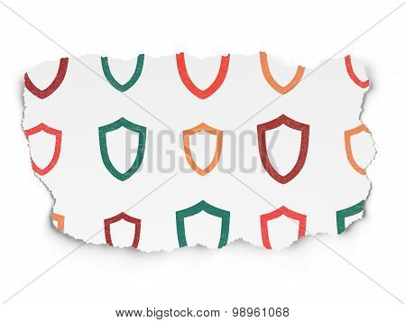 Protection concept: Contoured Shield icons on Torn Paper background