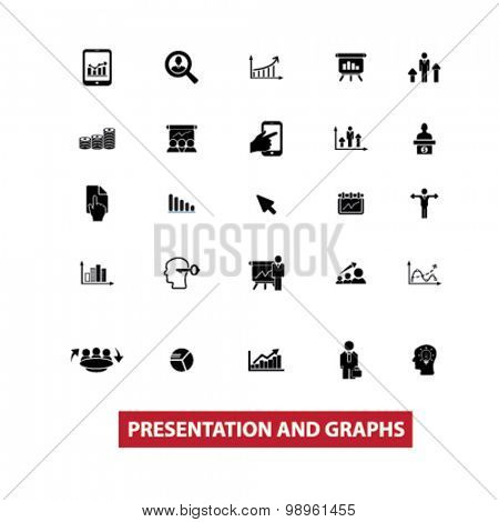 presentation, graphs, charts, diagrams black isolated icons, signs, illustrations for web, application, internet on white background