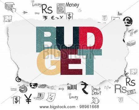 Money concept: Budget on Torn Paper background