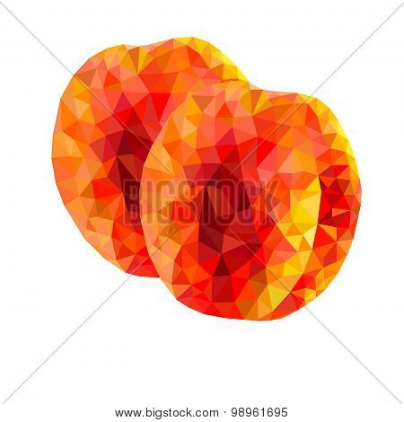abstract triangles peaches on a white background