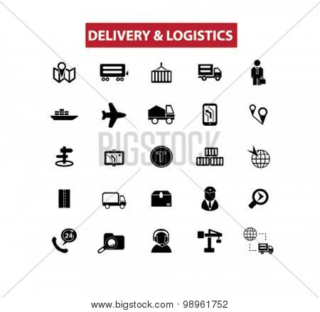 delivery, logistics, shipping, transportation concept isolated black icons, signs, illustrations on white background for web, application, internet