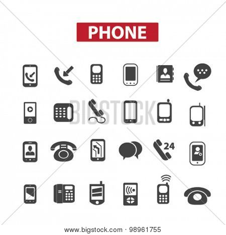 phone, smartphone, call service, interface, chat, calling concept isolated black icons, signs, illustrations on white background for web, application, internet