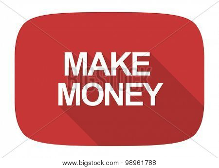 make money flat design modern icon with long shadow for web and mobile app