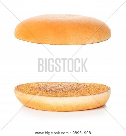Hamburger, Cheeseburger Bun On A White Background
