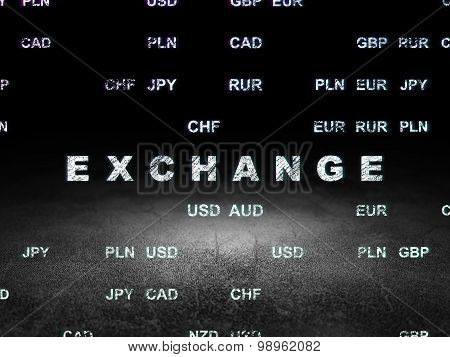 Money concept: Exchange in grunge dark room