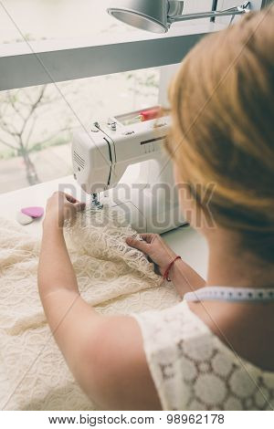 Working On Sewing Machine