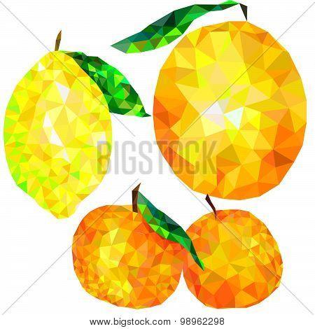 abstract citrus triangles isolated on white background, tangerine, orange, lemon
