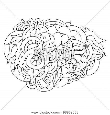 Hand drawn floral doodle design element.