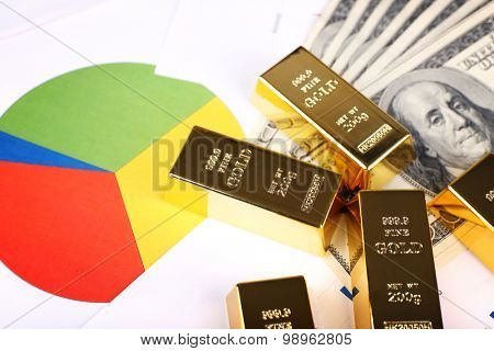 Gold bullion with money on table close up