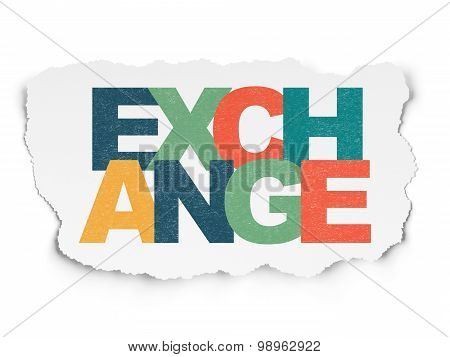 Currency concept: Exchange on Torn Paper background