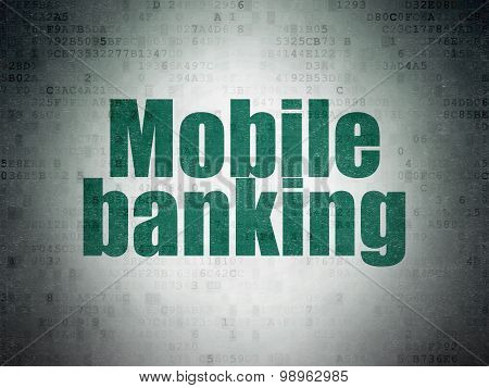 Banking concept: Mobile Banking on Digital Paper background