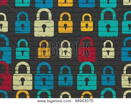 Data concept: Closed Padlock icons on wall background