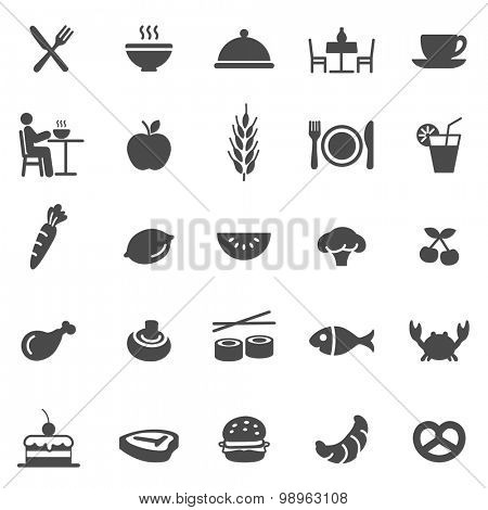 Eating black icons set.Vector