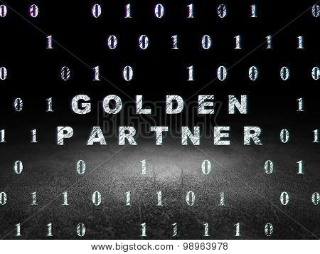 Business concept: Golden Partner in grunge dark room