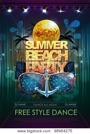 Disco Background. Summer Beach Disco Party Poster