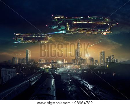Urban landscape of post apocalyptic future with flying spaceships.  	 Life after a global war. Digital art.
