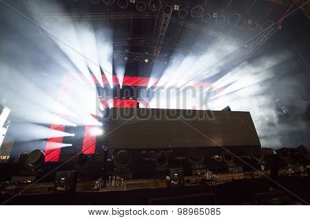 Cluj-Napoca ROMANIA - AUGUST 3, 2015:Stage lights during a live concert at Untold Festival in the European Youth Capital city of Cluj Napoca