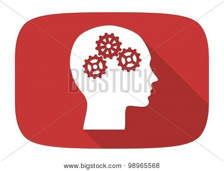 head flat design modern icon with long shadow for web and mobile app