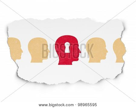 Finance concept: head with keyhole icon on Torn Paper background