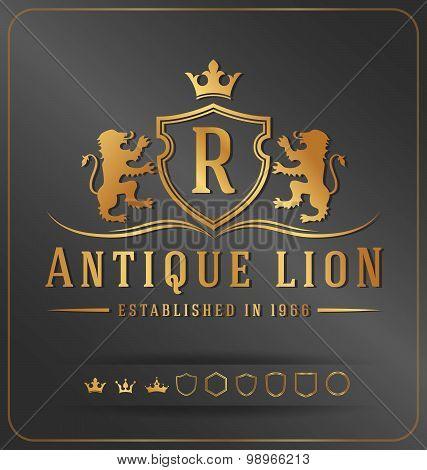 Luxurious Lions Royal Crest Vector Design Template