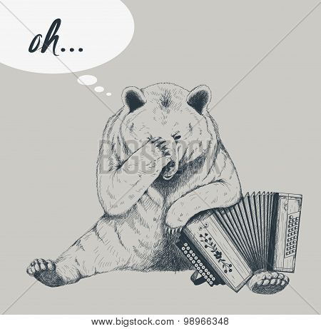 Sad bear with accordion. Sketch.